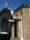 Statues on Front of the Railway Station, Helsinki, Finland, Scandinavia Photographic Print by G Richardson