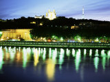 Basilique Notre Dame De Fourviere, Tour Mettalique, River Saone, Lyon, Rhone, France Photographic Print by David Hughes