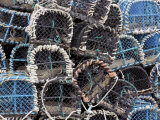 Lobster Pots in Fishing Harbour at Loguivy, Cote De Granit Rose, Cotes d'Armor, Brittany, France Photographic Print by David Hughes