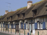 Row of Half Timbered Cottages, Village of Tourgeville, Near Deauville, Calvados, Normandy, France Photographic Print by David Hughes