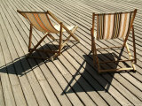 Deckchairs on the Seafront Boardwalk, Deauville, Cote Fleurie, Calvados, Normandy, France Photographic Print by David Hughes
