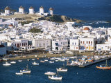 Town, Harbour and Windmills, Mykonos Town, Island of Mykonos, Cyclades, Greece Photographic Print by Lee Frost