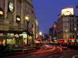Traffic Trails and Theatre Signs at Night Near Piccadilly Circus, London, England Photographic Print by Lee Frost