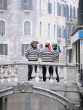 Gondoliers Chatting on Bridge, Near San Marco, Venice, Veneto, Italy Photographic Print by Lee Frost
