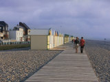 Couple Walking Along Wooden Planche (Boardwalk), Shingle Beach, Cayeux Sur Mer, Picardy, France Photographic Print by David Hughes