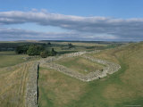 Milecastle and Wall at Cawfields, Hadrian's Wall, Unesco World Heritage Site, Cumbria, England Photographic Print by G Richardson