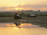 Fishing Boat at Sunset on the Aln Estuary at Low Tide, Alnmouth, Northumberland, England Photographic Print by Lee Frost