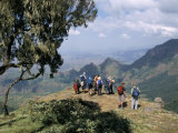 Tourists Trekking, Simien Mountains National Park, Unesco World Heritage Site, Ethiopia, Africa Photographic Print by David Poole