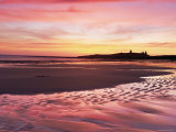 Embleton Bay at Sunrise, Low Tide, with Dunstanburgh Castle in Distance, Northumberland, England Photographic Print by Lee Frost