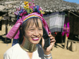 Long-Necked Tribal Woman on Mobile Phone, Thailand, Southeast Asia Photographic Print by Mula Eshet