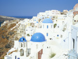 Oia with Blue Domed Churches and Whitewashed Buildings, Santorini (Thira), Cyclades Islands, Greece Photographic Print by Lee Frost