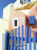 Painted Houses and Blue Gate, Imerovigli, Santorini, Cyclades Islands, Greek Islands, Greece Photographic Print by Lee Frost