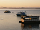 Houseboats at Dawn at Cutty Sark Hotel Marina, Lake Kariba, Zimbabwe, Africa Photographic Print by David Poole