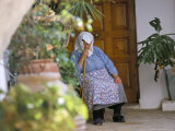 Old Woman Dozing at Monastery, Paleokastritsa, Corfu, Greek Islands, Greece Photographic Print by Hans Peter Merten