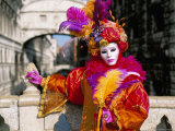 Portrait of a Person Dressed in Mask and Costume Posing in Front of the Bridge of Sighs Photographic Print by Lee Frost