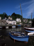 Blue Sailing Dinghy and River Aven, Pont-Aven, Brittany, France Photographic Print by Julian Pottage