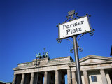 Street Sign and Brandenburg Gate, Berlin, Germany Photographic Print by Hans Peter Merten