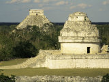 Mayan Observatory and the Great Pyramid Beyond, Chichen Itza, Unesco World Heritage Site, Mexico Photographic Print by Christopher Rennie
