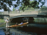Punt on River Avon Going Under Bridge, Christchurch, Canterbury, South Island, New Zealand Photographic Print by Julian Pottage