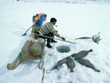 Inuit Man Fishing for Halibut, Eastern Area, Greenland, Polar Regions Photographic Print by Jack Jackson