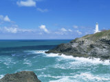 Trevose Lighthouse, Trevose Head, North Coast, Cornwall, England, United Kingdom Fotografie-Druck von Lee Frost