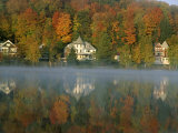 Large Houses Beside Lake Flower at Saranac Lake Town in Early Morning, New York State, USA Photographic Print by Julian Pottage