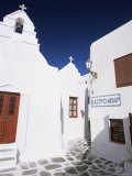 Street Scene with Whitewashed Buildings, Mykonos Town, Island of Mykonos, Cyclades, Greece Photographic Print by Lee Frost