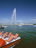 Lac Leman with Water Jet in Lake, Geneva, Switzerland Photographic Print by Hans Peter Merten