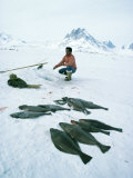 Inuit Man Fishing for Halibut, Greenland, Polar Regions Photographic Print by Jack Jackson