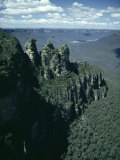 Rock Formations of the Three Sisters from Echo Point, Blue Mountains, Australia Photographic Print by Julian Pottage