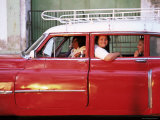 Women Waiting in Taxi in the Early Morning, Havana, Cuba, West Indies, Central America Photographic Print by Lee Frost