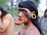 Portrait of a Suya Indian Man with Lip Plate, Brazil, South America Photographic Print by Robin Hanbury-tenison