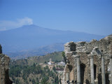 Greek Theatre and Mount Etna, Taormina, Sicily, Italy Photographic Print by J Lightfoot