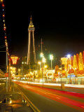 Blackpool Tower and Illuminations, Blackpool, Lancashire, England, United Kingdom Fotografisk tryk af Roy Rainford
