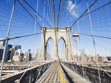 Pedestrian Walkway on the Brooklyn Bridge Looking Towards Manhattan, New York City, New York, USA Photographic Print by Amanda Hall
