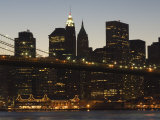 Manhattan Skyline and Brooklyn Bridge at Dusk, New York City, New York, USA Photographic Print by Amanda Hall
