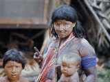 Heavily Painted Tirio Indian Woman Wearing Beads, with Children, Brazil, South America Photographic Print by Robin Hanbury-tenison