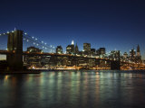 Manhattan Skyline and Brooklyn Bridge at Dusk, New York City, New York, USA Photographic Print by Amanda Hall
