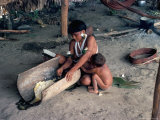 Yanomami Woman Preparing Manioc, Brazil, South America Photographic Print by Robin Hanbury-tenison