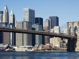 Brooklyn Bridge and Manhattan Skyline, New York City, New York, USA Photographic Print by Amanda Hall