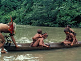 Yanomami Crossing River in Boat, Brazil, South America Photographic Print by Robin Hanbury-tenison