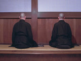 Two Monks During Za-Zen Meditation in the Sodo or Zazendo Hall, Elheiji Zen Monastery, Japan Photographic Print by Ursula Gahwiler