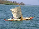 Canoe with Sail, River Gambia, the Gambia, West Africa, Africa Photographic Print by J Lightfoot
