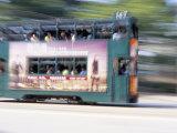 Tram Travelling at Speed, Causeway Bay, Hong Kong Island, Hong Kong, China Photographic Print by Amanda Hall