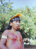 Suya Indian Man with Lip Plate, Xingu, Brazil, South America Photographic Print by Robin Hanbury-tenison
