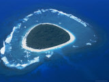 Aerial View, Reef Formation and Island, Fiji, South Pacific Islands Photographic Print by Lousie Murray