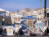 Artists' Paintings for Sale, St. Tropez, Var, Cote d'Azur, French Riviera, Provence, France Photographic Print by J Lightfoot