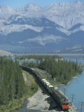 Canadian National Railways Goods Train Along Athabasca River, Jasper National Park, Rocky Mountains Photographic Print by Ursula Gahwiler