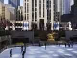 The Rockefeller Center with Famous Ice Rink in the Plaza, Manhattan, New York City, USA Photographic Print by Amanda Hall