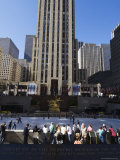 The Rockefeller Center with Ice Rink in the Plaza, Manhattan, New York City, USA Photographic Print by Amanda Hall